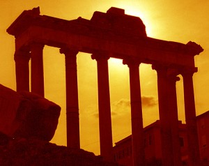 Temple of Saturn in Silhouette at the Roman Forum, attributed to David Paul Ohmer